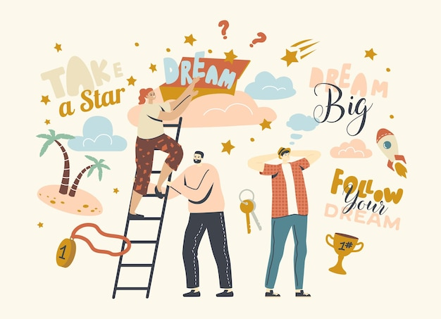 Podążaj za koncepcją marzeń z postaciami wspinającymi się po drabinie aż do chmur, wyobraź sobie sukces i bogactwo. ludzie odważają się wziąć gwiazdę z nieba, aspiracje i motywację. liniowa ilustracja wektorowa