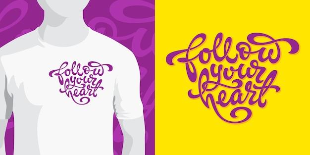 Podążaj za typografią serca w kształcie serca na żółtym tle