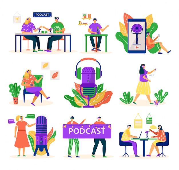 Podcast audio, ludzie z mikrofonem i zestawem słuchawkowym, zestaw multimedialny ilustracji. podcaster młody człowiek nagrywa podcast w studio radiowym. samouczek i kurs dotyczący podcastów.