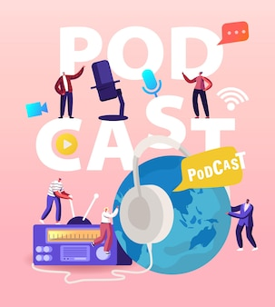 Podcast, Comic Talks Lub Audio Program Online Broadcasting Illustration Premium Wektorów
