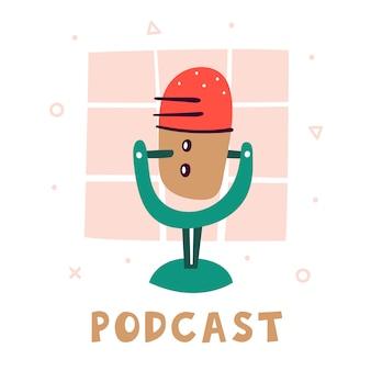 Podcast. mały śliczny czerwony mikrofon z zielonym stojakiem. akcesoria do nagrywania głosu. atrybut bloggera. technologie. płaski kolorowy ilustracja