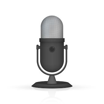 Podcast. mikrofon z ikonami dymka. ilustracja.