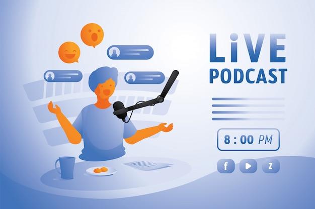 Podcast na żywo w domowym studio