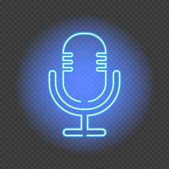 Podcast neonowy znak. mikrofon na przezroczystym tle. ilustracja wektorowa w stylu neonowym dla stacji radiowej i nadawania.
