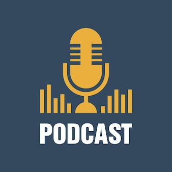 Podcast. płaskie ilustracji wektorowych, ikona, projektowanie logo na ciemnym niebieskim tle.