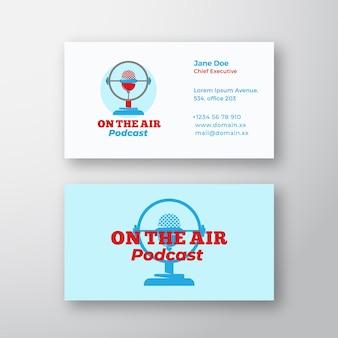 Podcast radio show streszczenie znak, symbol lub logo logo i szablon wizytówki.