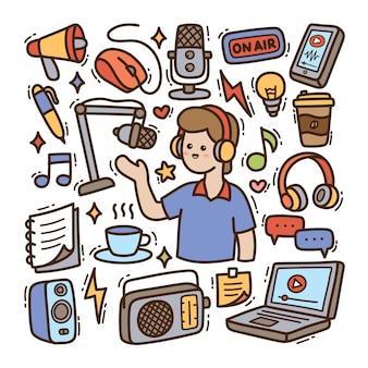 Podcast ręcznie rysowane doodle ilustracji wektorowych