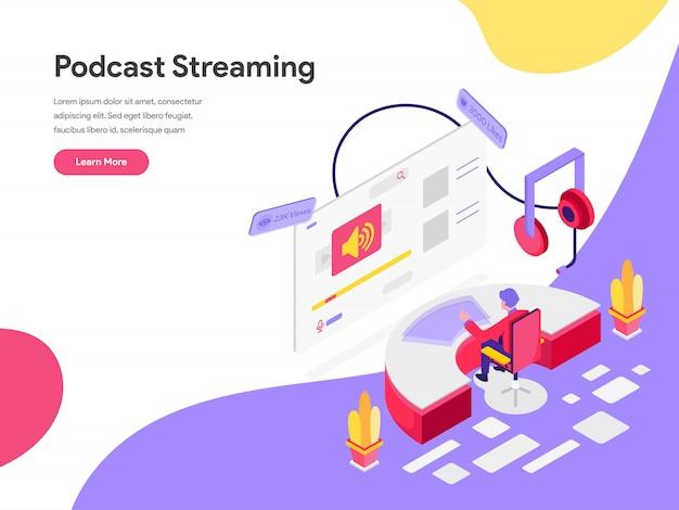 Podcast strumieniowe izometryczne ilustracja koncepcja