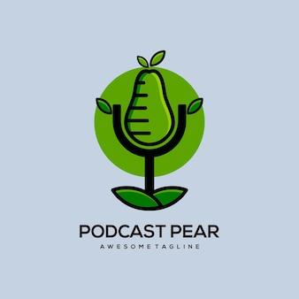 Podcast szablon wektor ilustracja gruszka