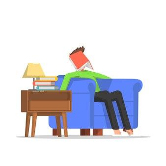 Podczas czytania mężczyzna zasnął