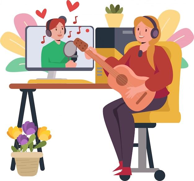 Podczas pandemii mężczyzna i kobieta śpiewają razem przez internet