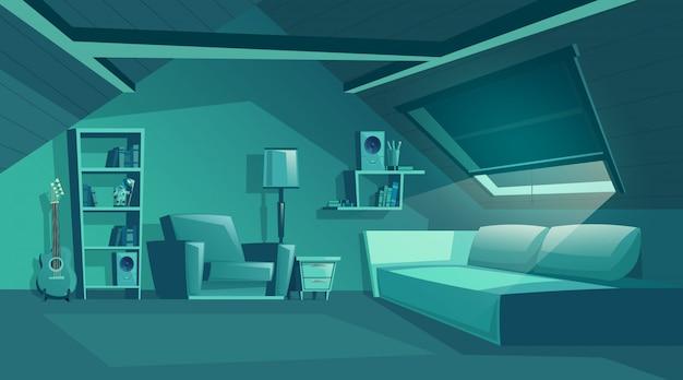 Poddasze wnętrze w nocy, pokój kreskówka z meblami, sofa z poduszkami.