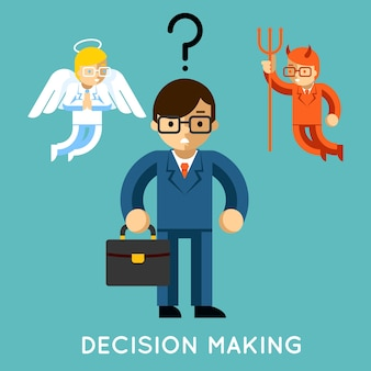 Podejmowanie decyzji. biznesmen z aniołem i demonem. wybór dobry i zły, dylemat konfliktu