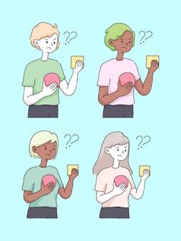 Podejmowanie decyzji wybiera opcji pojęcia śliczną ilustrację