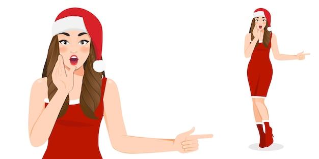 Podekscytowana dziewczyna w czerwonej sukience i boże narodzenie santa hat postać z kreskówki