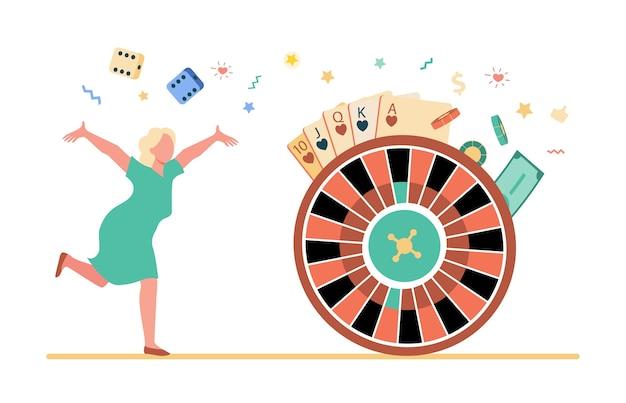Podekscytowana kobieta cieszy się zwycięstwem na automacie. ilustracja fortuny koła.