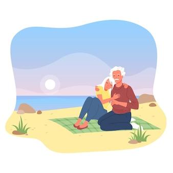 Podeszłym wieku kochający para osób przytulić ilustracja wektorowa. postaci z kreskówek starszy mężczyzna kobieta siedzi razem na plaży nad morzem, oglądając zachód słońca, miłość i relacje w starszym wieku na białym tle