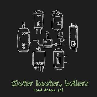 Podgrzewacz wody, kotły ręcznie rysowane doodle zestaw