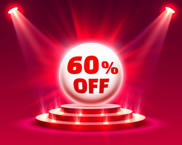 Podium 60 zniżki z procentem zniżki na akcje. ilustracja wektorowa