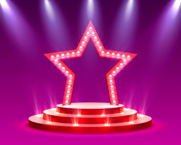 Podium gwiazdy z oświetleniem scena podium z ceremonią wręczenia nagród na czerwonym tle