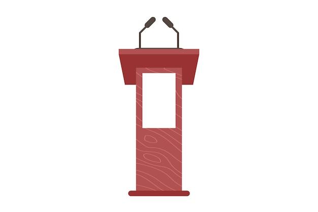 Podium i trybuna. stoisko sceniczne lub debata lub mównica ogłoszeniowa z mikrofonem. prezentacja biznesowa lub trybuna przemówień konferencyjnych. płaskie wektor ilustracja na białym tle.