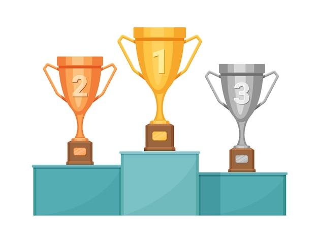 Podium mistrza z trofeami. piedestał zwycięzcy ze złotymi, srebrnymi i brązowymi pucharami. koncepcja wektor nagrody w konkursie sportu lub wyścigu. nagroda dla zwycięzcy i mistrza, pierwsza nagroda za zwycięstwo