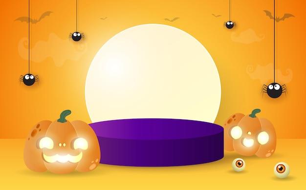 Podium na halloween dla koncepcji wyświetlania produktu wystawa stoiska i prezentacja z łatą dyni