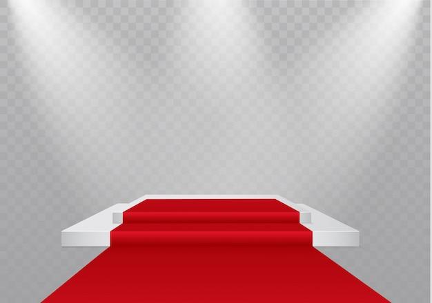 Podium na przezroczystym tle. podium zwycięzców z jasnymi światłami. światło. oświetlenie. ilustracja. uwaga.