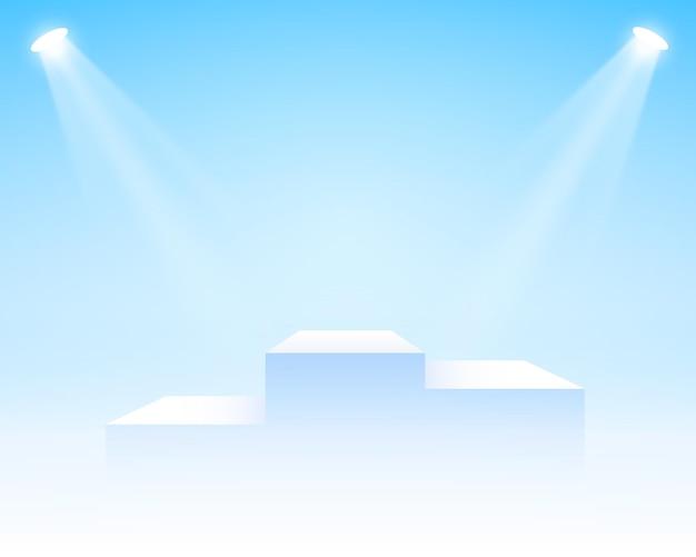 Podium na scenie z oświetleniem scena na podium z ceremonią wręczenia nagród na białym tle