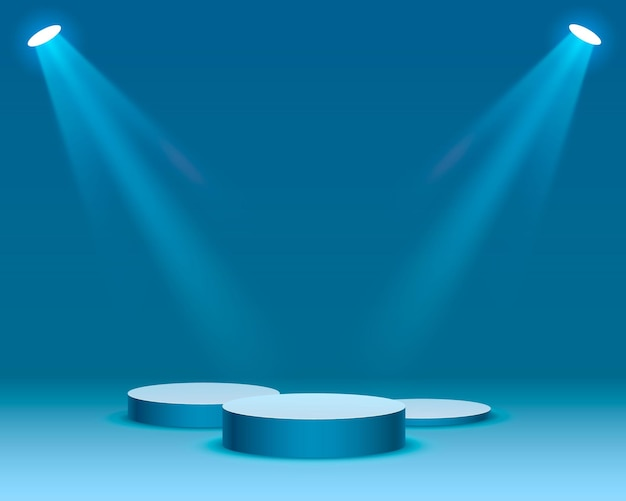 Podium na scenie z oświetleniem scena na podium z ceremonią wręczenia nagród na niebieskim tle