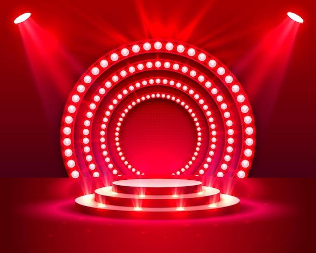Podium na scenie z oświetleniem, scena podium z ceremonią wręczenia nagród na czerwonym tle, ilustracji wektorowych