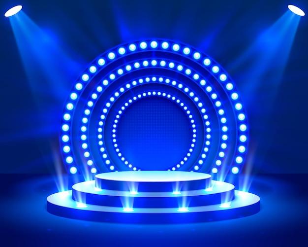 Podium na scenie z oświetleniem, scena podium z ceremonią wręczenia nagród na niebieskim tle, ilustracji wektorowych