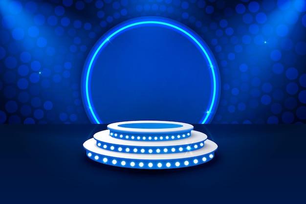 Podium na scenie z oświetleniem, scena podium z ceremonią wręczenia nagród na niebieskim tle