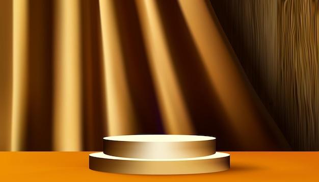Podium na złotym wyświetlaczu na złotej kurtynie i tle drewna. .