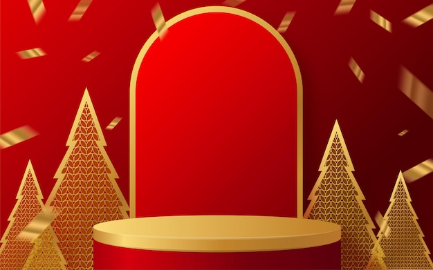 Podium okrągłe podium na scenie i papierowa sztuka chiński nowy rok chińskie festiwale w połowie jesieni autumn