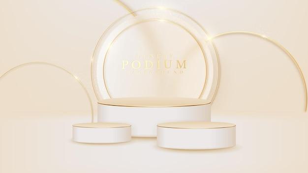 Podium pokazu produktów z błyszczącymi złotymi zakrzywionymi elementami linii, 3d realistyczny luksusowy styl tła.