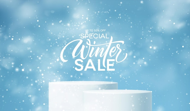 Podium produktu zimowego na tle zaspy, płatków śniegu i śniegu. realistyczne podium produktu do projektowania rabatów zimowych i świątecznych, sprzedaż. ilustracja wektorowa