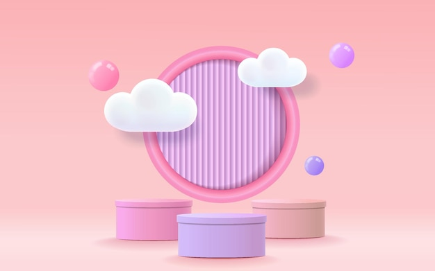 Podium renderowania 3d, kolorowe pastelowe tło, chmury i pusta przestrzeń dla dzieci lub produktu dla dzieci