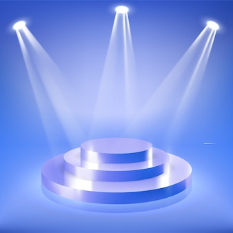 Podium sceniczne w niebieskim świetle neonowym