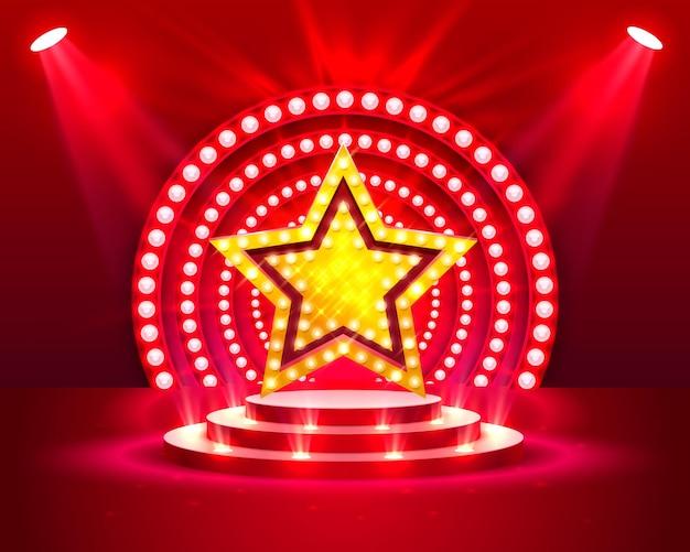 Podium sceny z oświetleniem scena podium z ceremonią wręczenia nagród na czerwonym tle