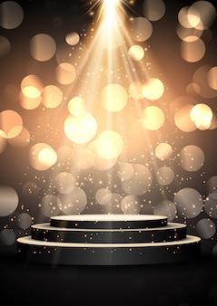 Podium w błyszczącym złotym świetle reflektorów