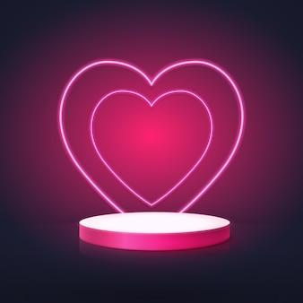 Podium w kształcie koła z neonowymi sercami