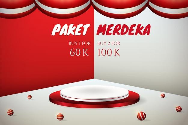 Podium wyświetla baner 3d na dzień niepodległości indonezji 17 sierpnia