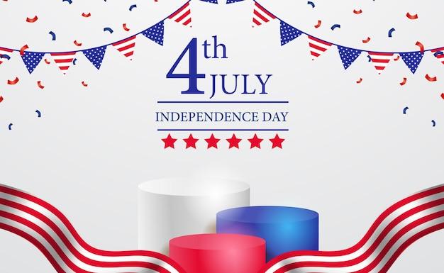 Podium wyświetla cylinder 3d na 4 lipca amerykański niezależny dzień banner z szablonem wstążki i konfetti