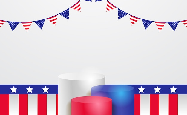 Podium wyświetla cylinder 3d na 4 lipca amerykański niezależny dzień banner z szablonem wstążki