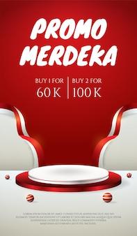 Podium wyświetla plakat 3d na dzień niepodległości indonezji 17 sierpnia