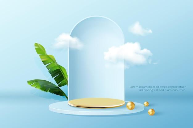 Podium z chmurami i pustą złotą sceną do prezentacji produktów.
