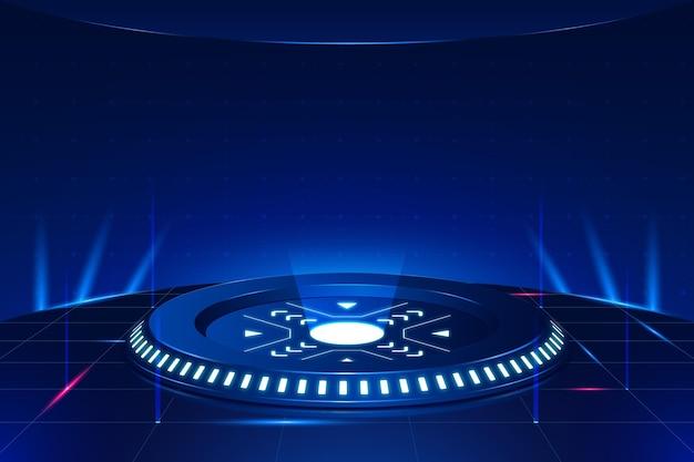 Podium z futurystycznym tłem świateł