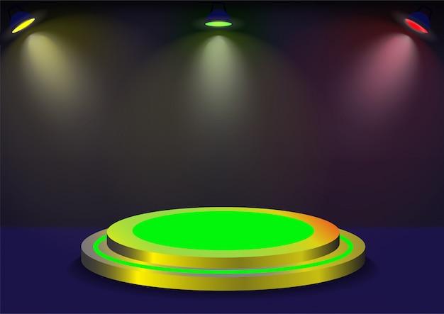Podium z kolorowym oświetleniem.