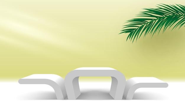 Podium z liśćmi palmowymi i jasnobiałym cokołem platforma wyświetlania produktów kosmetycznych 3d renderd
